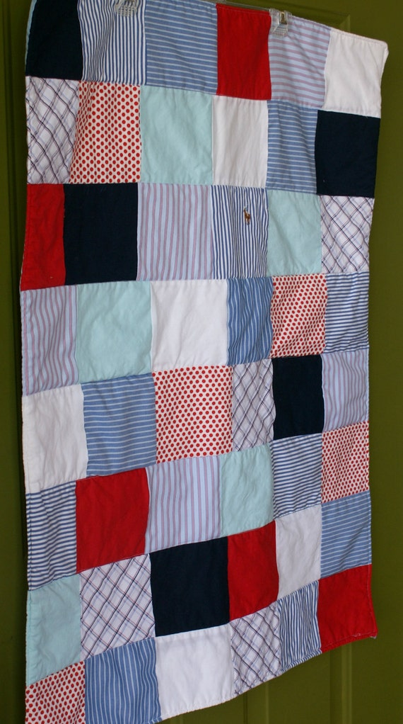 Red, White, & Blue Upcycled Baby Quilt