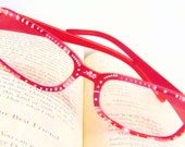 Floral Handpainted Reading Glasses. 1.50 Strength Reading Glasses. Red Frame With Pink and White Polka Dot Handpainted Reading Glasses.