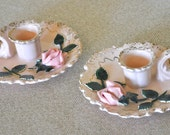 Vintage Lefton Candleholders - pink and gold trim with roses