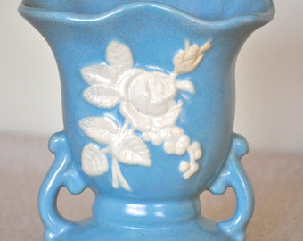 Vintage Cameo Vase - Weller Pottery Blue Vase
