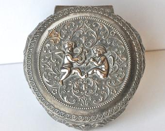 Vintage Brass Cherubs Jewelry Casket Box