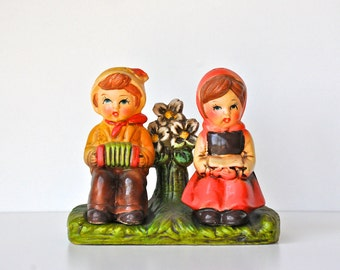 Vintage Japan Salt and Pepper Shakers - Sitting Boy and GIrl