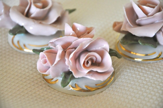 VIntage Porcelain Rose Trio