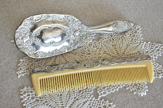 VIntage Hairbrush and Comb Set - Silver Plate
