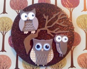 """Brown """"Fall Owls"""" Magnet"""