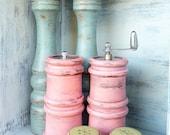 Shabby Chic Salt and Pepper Shakers, TEAL / AQUA