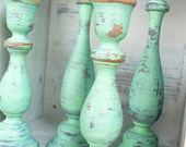 Set of 4 SHABBY CHIC Mint Green Chippy Candle Holders