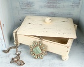Shabby Chic Box with Lid for Jewelry or Trinkets in Butter Cream Yellow