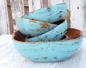 Wood Salad Bowls - Shabby Chic Painted Teal/ Turquoise Blue Salad Bowl Set