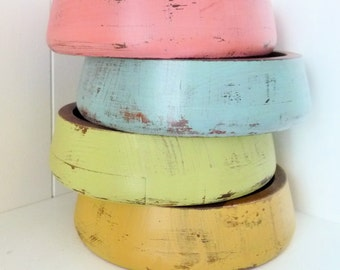 Colorful Shabby Chic Salad Bowls Set, PINK, Teal, GREEN, Yellow