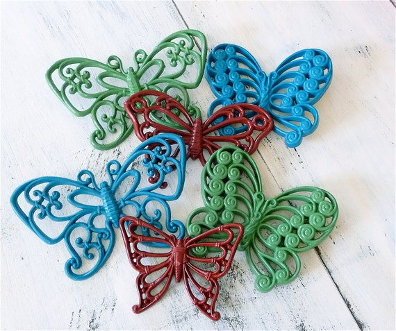 Upcycled Syroco and Homco Butterfiles. Red Green and Blue Wall Hanging Collection