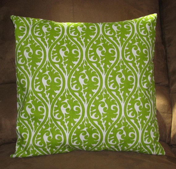 Throw Pillow Cover Decorative Happy Green and Ivory White
