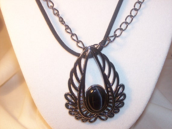 Necklace large dark silver pendant, black stone, dark metal chain, black velvet cord 18 inch, FREE shipping USA only, #N