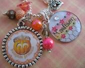Personalized Pumpkin Princess Bottle cap  Pendant Keychain, Jewelry, Gift Necklace, Girls Children, Mother Grandmother, School, Fall Autumn