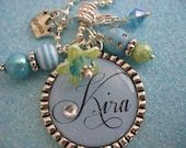 PRINCESS Bottle cap Blue pendant Necklace, Swarovski Crystal, Mother grandmother Wedding, Bridal, Gift, Jewelry, kids school