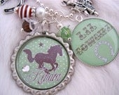 HORSE Jewelry Cowgirl Necklace GREEN Bottle cap Necklace, Horse shoe charm Western Equestrian, riding jewelry, Gift Present, Mother Kids