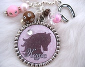 HORSE Bottle cap personalized Pink Polka dot Pendant EQUESTRIAN Jewelry Cowgirl Party Necklace charm Western riding Gift , Kids jewelry