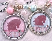 HORSE Jewelry Cowgirl Pink Blue Bottle cap polka dot Striped Necklace Horseshoe charm, Western Equestrian riding jewelry, Party favors