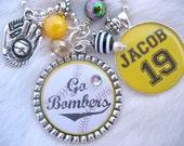 BASEBALL MOM Necklace custom soccer, FOOTBALL, Keychain Pendant, Women, Men, Gift Present, Kids, Team, Baseball Charm