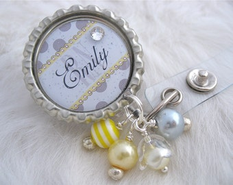 Personalized ID Badge Reel RN  Np Lmt, Nicu Yellow polka dot Bottle cap Jewelry Necklace Holder Pull ID Clip, Medical nurse teacher gift