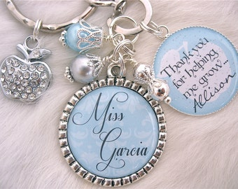 Thank you for helping me grow PERSONALIZED TEACHER gift  Bottle cap Keychain Necklace, Teacher Appreciation, Inspirational Quote daycare