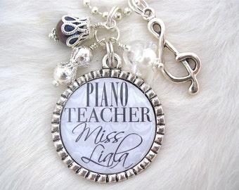 Piano MUSIC TEACHER GIFT Personalized Bottle cap pendant Necklace Keychain Dance Art Teacher appreciation Piano Recital