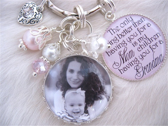 MOTHER GIFT Photo pendant keychain necklace personalized Mothers Day Jewelry Mother Grandma Nana Godmother, glass dome, Sister, Mother, Aunt