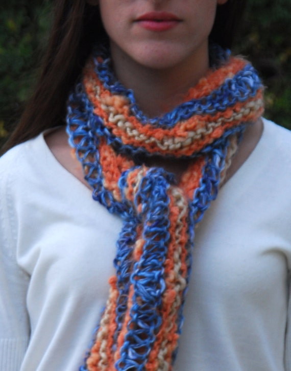 A Stroll on Ocean Drive- beautiful, extra long, warm, colorful women's knitted scarf