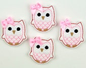 OWL - Embroidered Felt Embellishments / Appliques - White, Pink & Red  (Qnty of 4) SCF6680