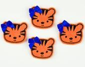TIGER - Embroidered Felt Embellishments / Appliques - Orange & Black  (Qnty of 4) SCF6220