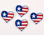 PATRIOTIC HEART - Embroidered Felt Embellishments / Appliques - Red, White & Blue  (Qnty of 4) SCF2000