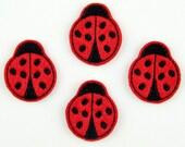 LADYBUG - Embroidered Felt Embellishments / Appliques - Red & Black  (Qnty of 4) SCF6145