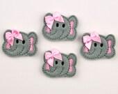 ELEPHANT - Embroidered Felt Embellishments / Appliques - Gray & Pink  (Qnty of 4) SCF6075