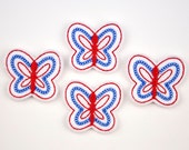 BUTTERFLY - Embroidered Felt Embellishments / Appliques - White, Blue & Red  (Qnty of 4) SCF6040
