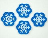 SNOWFLAKE - Embroidered Felt Embellishments / Appliques - Blue & White  (Qnty of 4) SCF4055