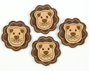 LION - Embroidered Felt Embellishments / Appliques - Brown & Tan  (Qnty of 4) SCF6155