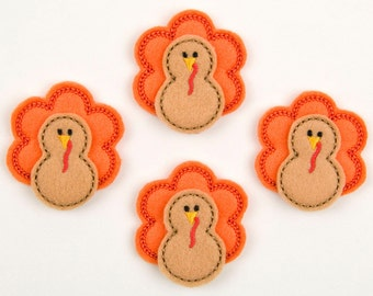 TURKEY - Embroidered Felt Embellishments / Appliques - Orange & Brown  (Qnty of 4) SCF6230