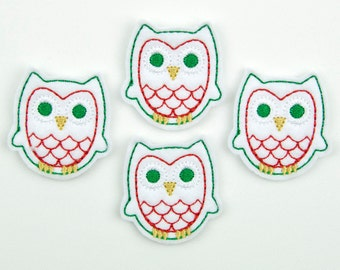 OWL - Embroidered Felt Embellishments / Appliques - White, Green & Red  (Qnty of 4) SCF6670