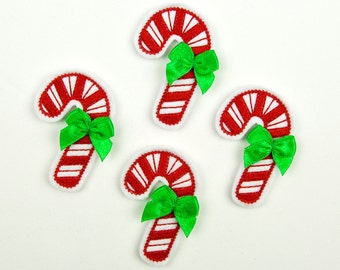 CANDY CANE - Embroidered Felt Embellishments / Appliques - White & Red  (Qnty of 4) SCF4000