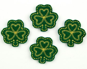 SHAMROCK - Embroidered Felt Embellishments / Appliques - Green & Gold  (Qnty of 4) SCF1085