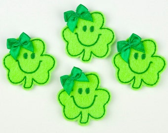 SMILEY SHAMROCK - Embroidered Felt Embellishments / Appliques - Lime & Green  (Qnty of 4) SCF1095