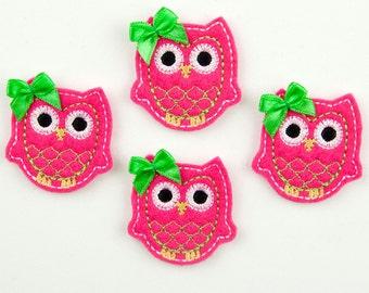 OWL - Embroidered Felt Embellishments / Appliques - Fuschia & Lime  (Qnty of 4) SCF6550