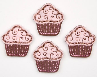CUPCAKE - Embroidered Felt Embellishments / Appliques - Brown & Pink  (Qnty of 4) SCF7000