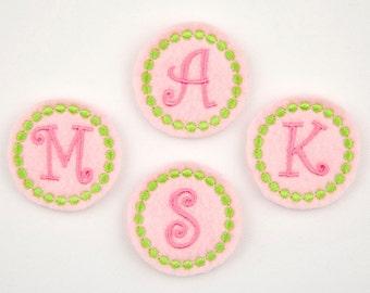 CIRCLE MONOGRAM  / Curlz - Embroidered Felt Embellishments / Appliques - Pink, Hot Pink & Lime  (Qnty of 4) SCF5020