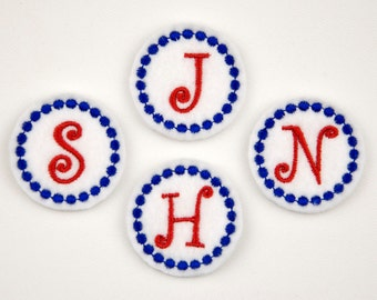 CIRCLE MONOGRAM / Curlz - Embroidered Felt Embellishments / Appliques - White, Red & Blue  (Qnty of 4) SCF5040