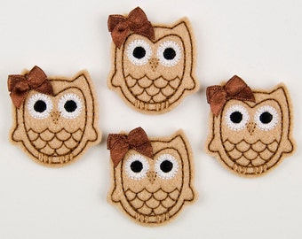OWL - Embroidered Felt Embellishments / Appliques - Tan & Chocolate  (Qnty of 4) SCF6640