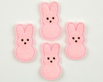 MARSHMALLOW RABBIT - Embroidered Felt Embellishments / Appliques - Pink (Qnty of 4) SCF1070