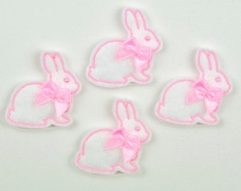 BUNNY - Embroidered Felt Embellishments / Appliques - White & Pink  (Qnty of 4) SCF1010