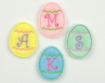 Machine Embroidered Felt - Egg Monogram Embellishments YOU CHOOSE MONO / Applique