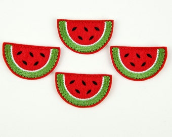 WATERMELON SLICE - Embroidered Felt Embellishments / Appliques - Red  (Qnty of 4) SCF7070